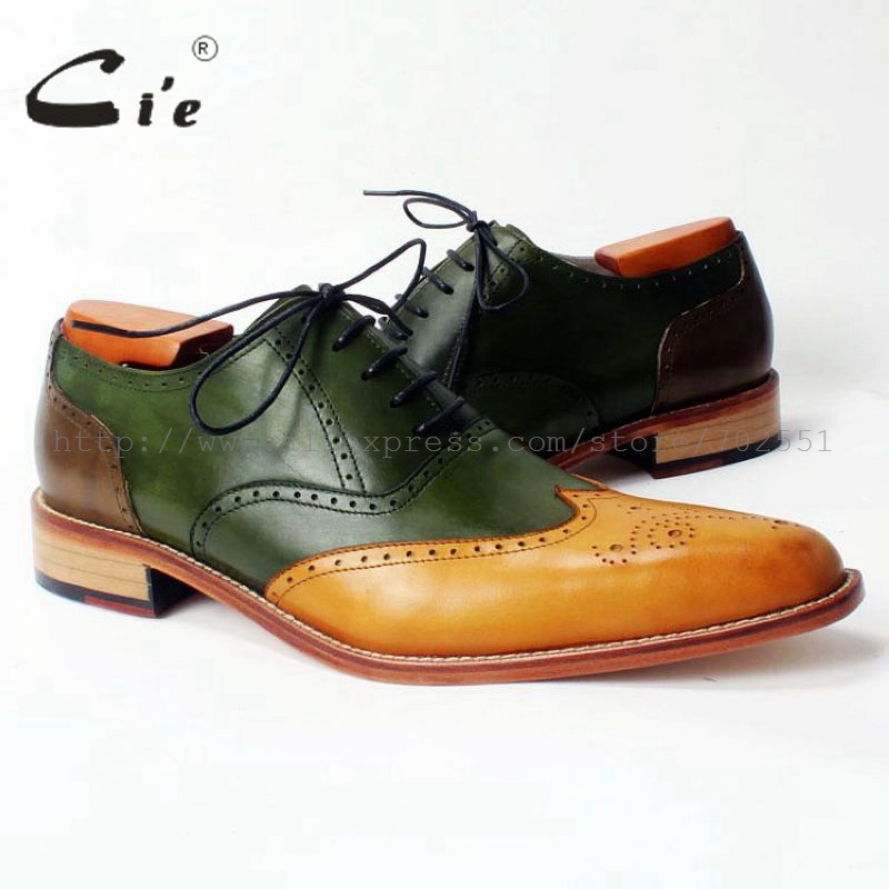 8cbd7c4318fd CIE заказ Мужская обувь ручной работы полный броги на шнуровке из  натуральной телячьей кожи дышащая мужская обувь платье острым OX308