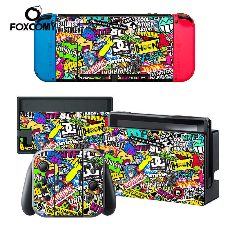 STICKERBOMB FLOWER Custom Man Vinyl Console Cover For Nintend Switch Skin Stickers Controller Protective For NS Switch