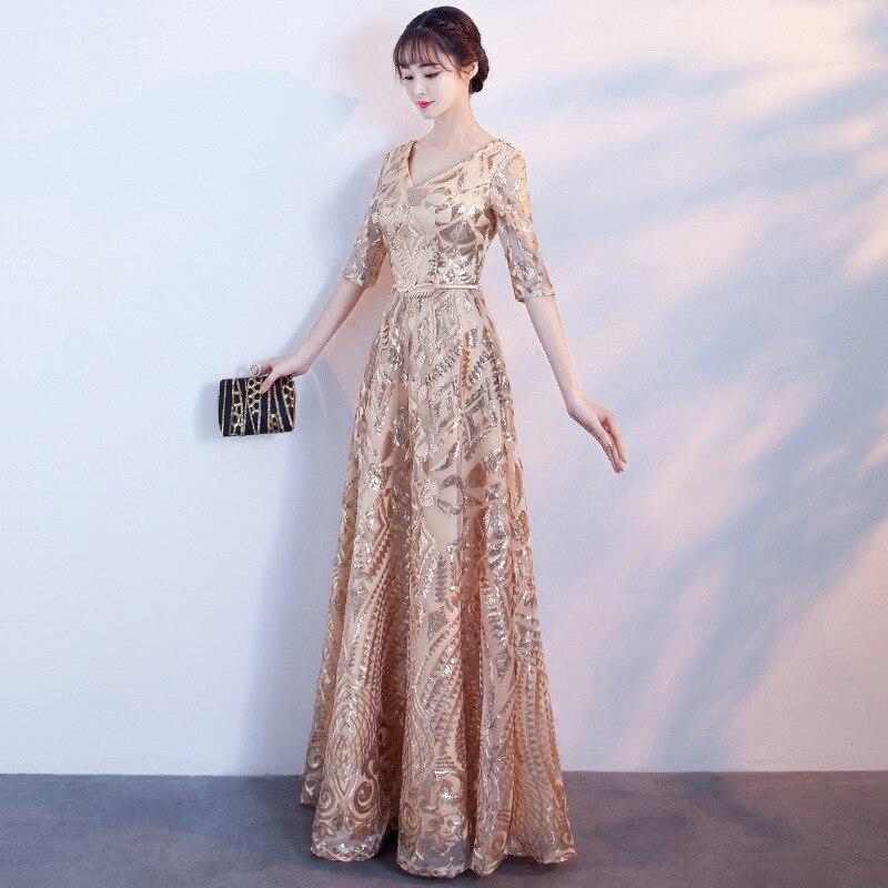 Oversize 3XL NEW Chempagne Elegant V Neck Dresses Satin Slim Vestido Sexy Rayon Evening Party Cheongsam