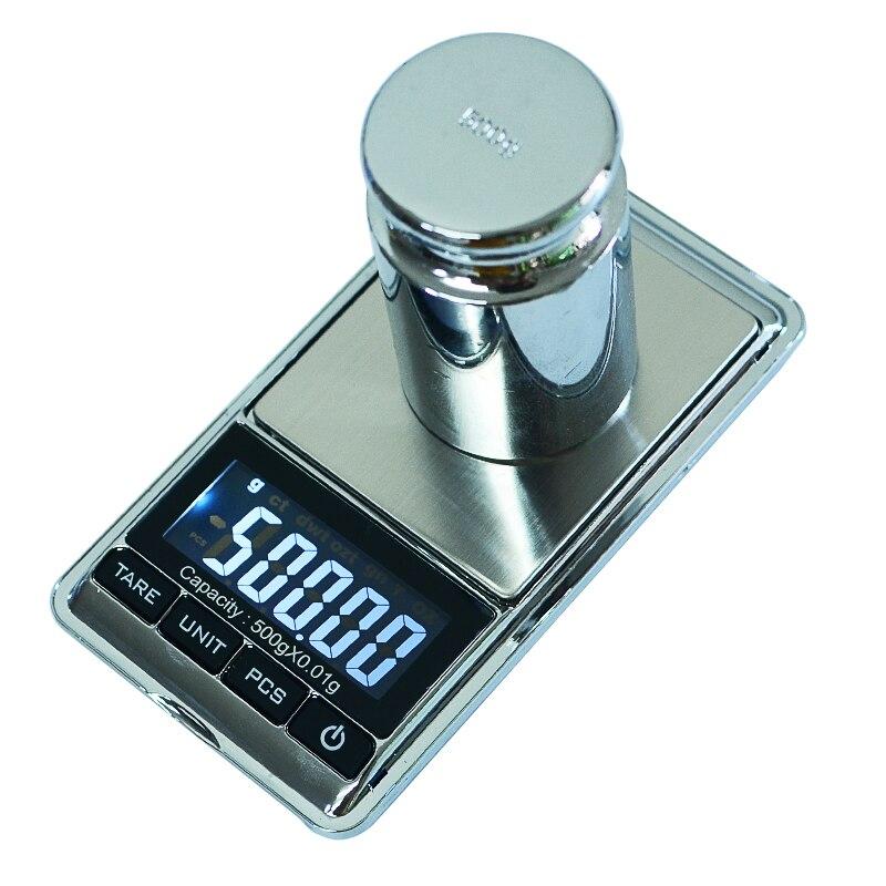 500g/0,01g Escala electrónica de bolsillo portátil LCD Digital de escalas equilibrio de peso de cocina escala de gramos