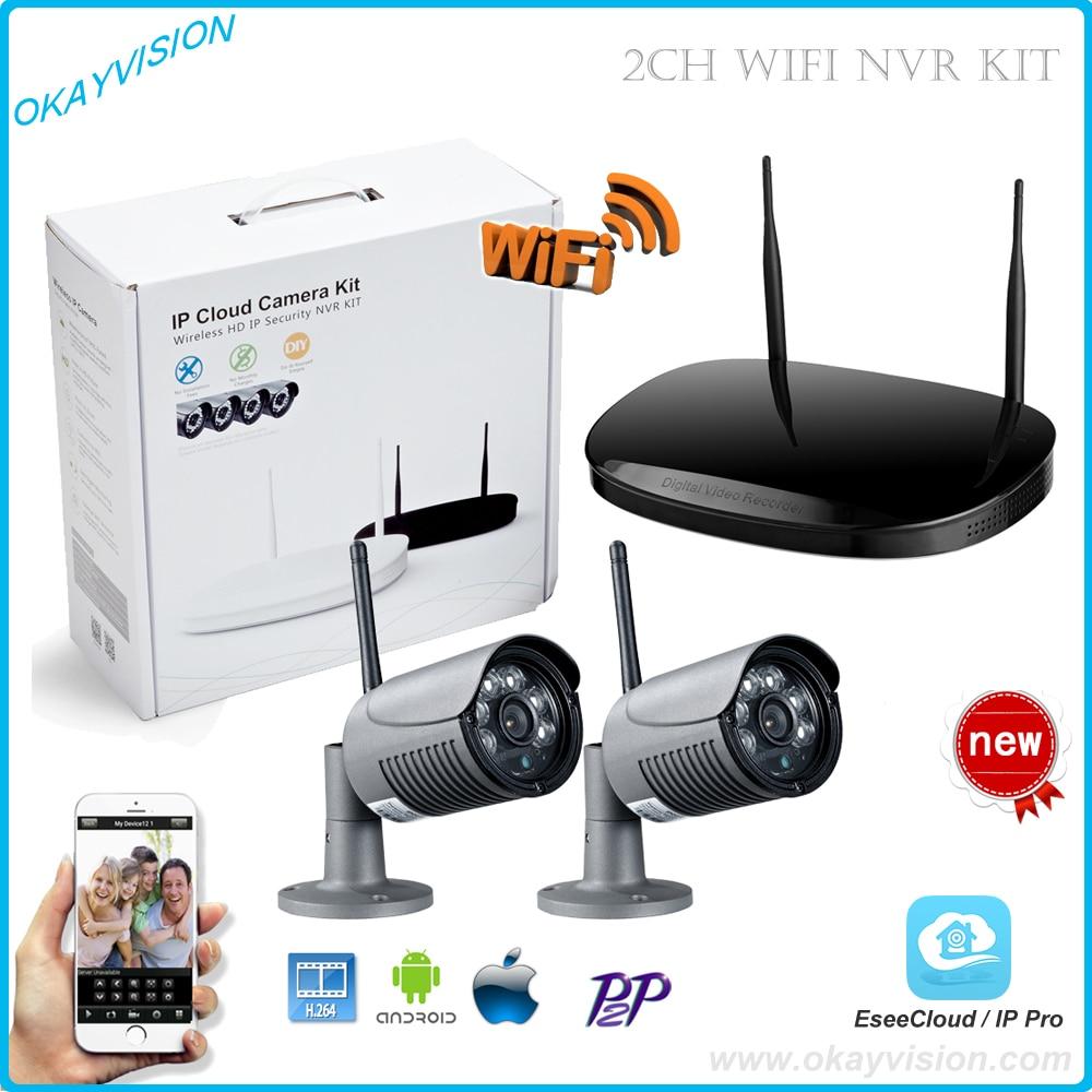 2CH Plug And Play  Wireless NVR KIT, 1.0 MP IR Outdoor P2P Wireless Wifi IP CCTV Camera Security System Surveillance Kit