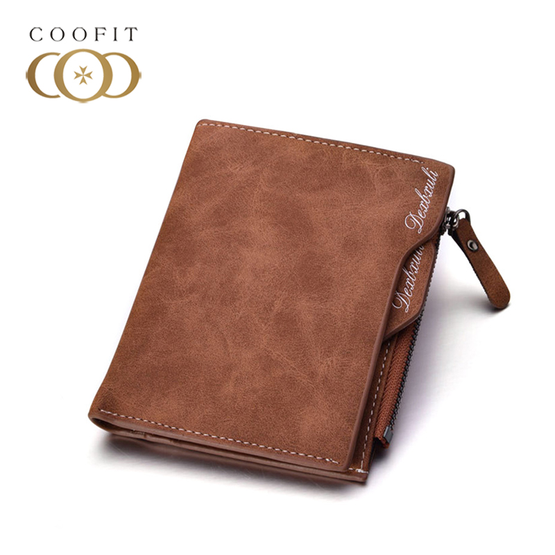 coofit Retro Men Wallets Short Pattern PU Leather Purse Multi-Pockets Credit Card Purse Blocking Card Holder With Photo Window