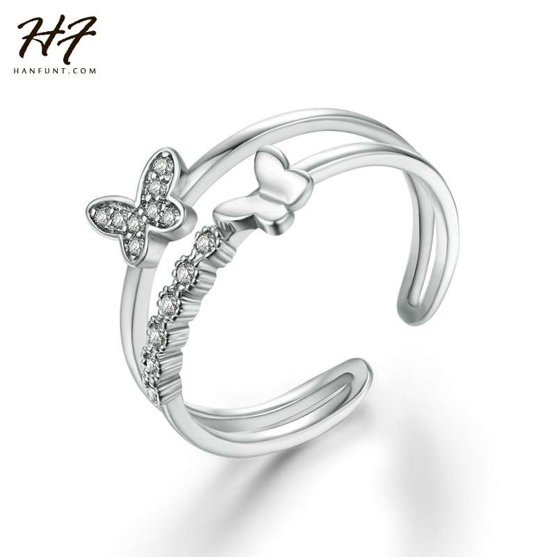 Exquisite Butterfly Shaped Open Ring 18K White Gold Plated CZ Diamond Rings for Women Christmas Gift R349-5 R350-1 mariposa en plata anillo