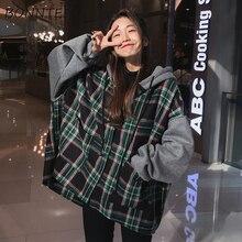 Hoodies Kalın Büyük Boy Kadın Kapşonlu Patchwork Şık Ekose Batwing Kollu Kore Tarzı Moda Bayan Casual Tişörtü Öğrencileri