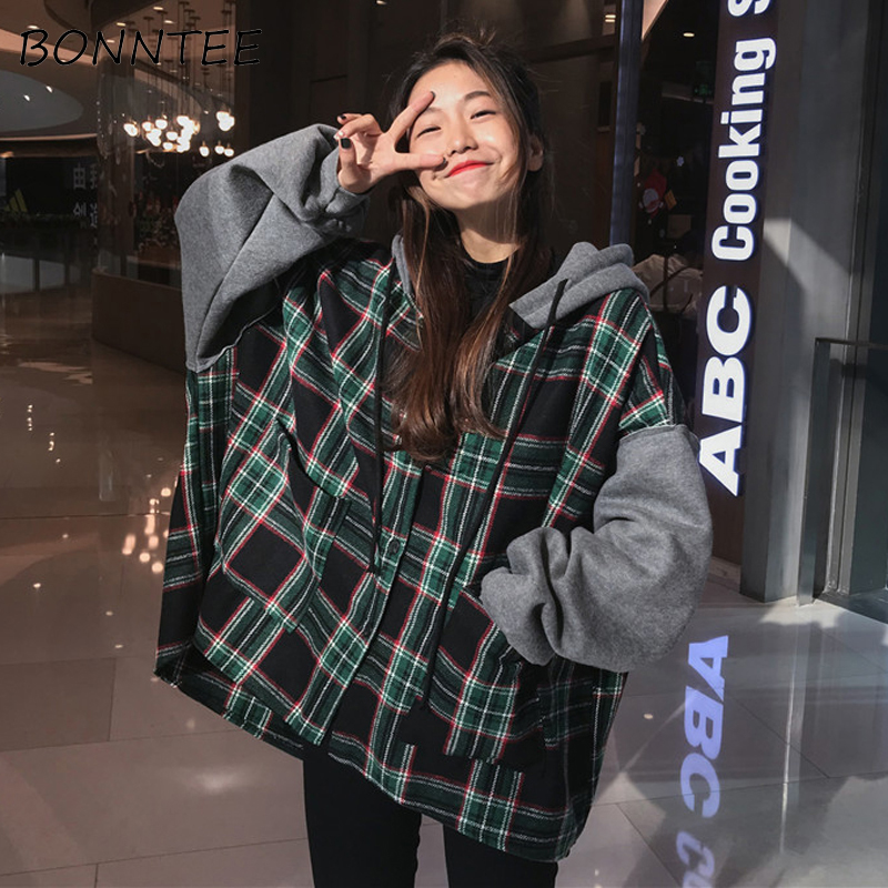 Hoodies Thicker Oversize Women Hooded Patchwork Chic Plaid Batwing Sleeve Korean Style Trendy Womens Casual Sweatshirts Students