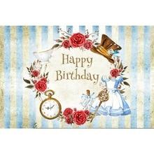 Laeacco Happy Birthday Clock Dress Cap Wall Wreath Baby Shower Cartoon Scene Photo Backdrop Photography Backgrounds Studio