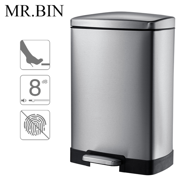 MR.BIN 12L Stainless Steel Trash Can with Foot Pedal ...