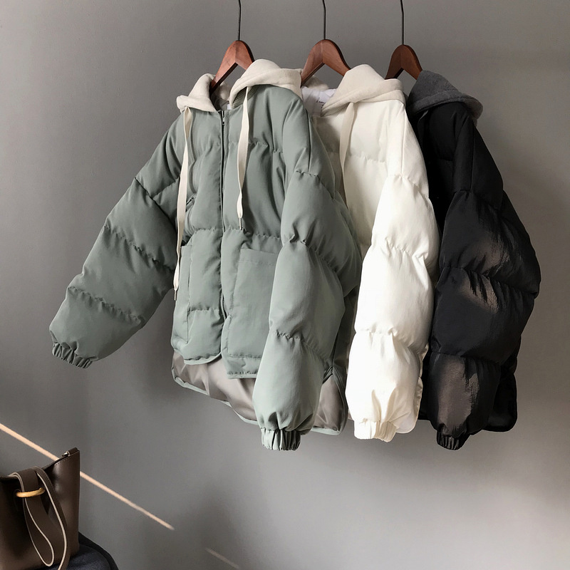Winter Down Cotton Jacket Women Harajuku BF Style Thick Winter Coat Hooded   Parkas   Mujer 2018 Cotton Bread Jacket Outerwear C4798