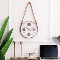 Creative Modern Belt Wall Clock Vogue Rose Gold Glass Clock Home Decoration Plastic Hangong Clock Bedroom Mute Quartz Clock