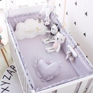 Image 3 - (5 stuks EEN Set) custom Size Baby Beddengoed Set Bed Bumper 4 stuks + 1 pc Wieg Bed Hoeslaken Voor 120x60 cm Baby Bed