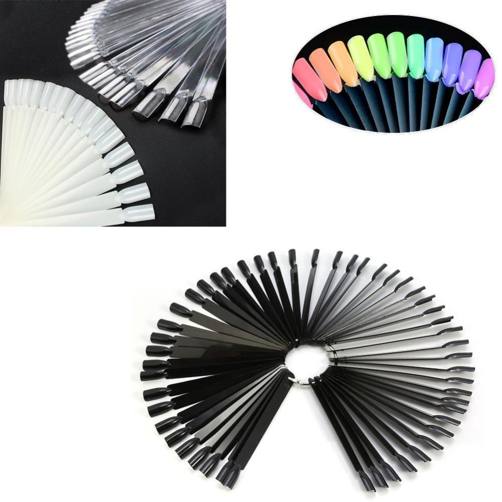 False Nail Polish Displayer Nail Art Fan Wheel Polish Practice Tips Stick Design Decoration Display Nail Art Trianing Tools ...