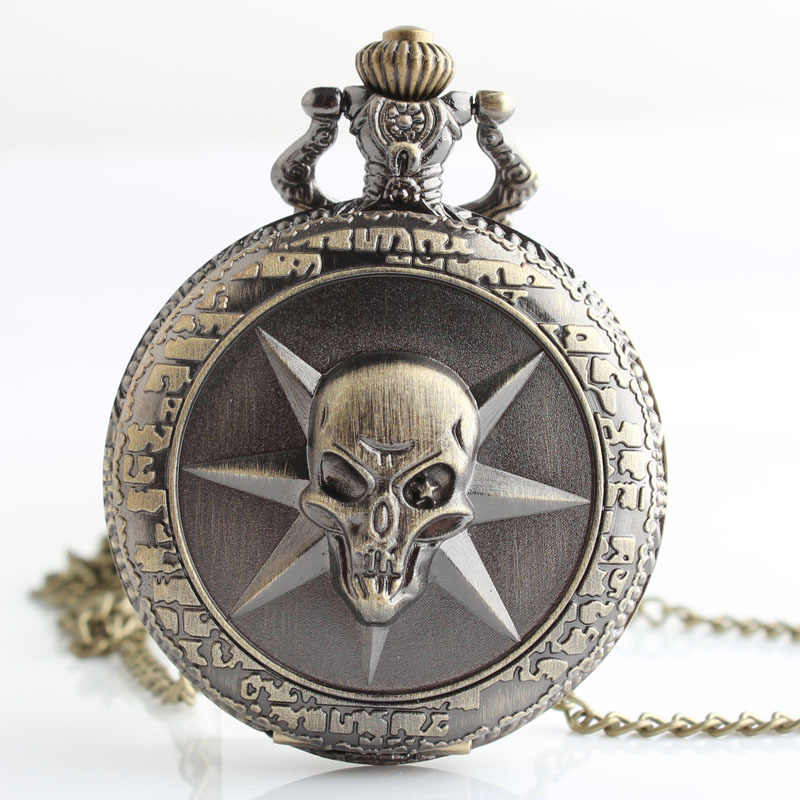 Coupon for wholesale buyer price good quality girl woman lady fashion vintage bronze One Piece skull pocket watch TD2009