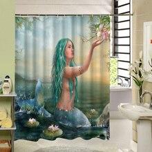 Красивого Русалка с зелеными волосами пользуется цветок в реке пользовательские Шторы для Ванная комната Водонепроницаемый душ Шторы