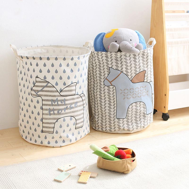 New Angel Horses Cotton Folding Klesvask Basket Dirty Clothes Storage Basket For Toy Environmental Protection Material For Kids