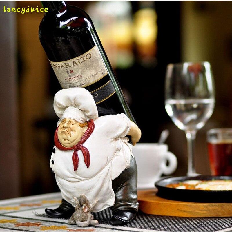 Beducht Creatieve Sculptuur Wijnrek Decoratieve Hars Koken Standbeeld Fles Houder Bar Drinken Utility Ornament Craft Accessoires