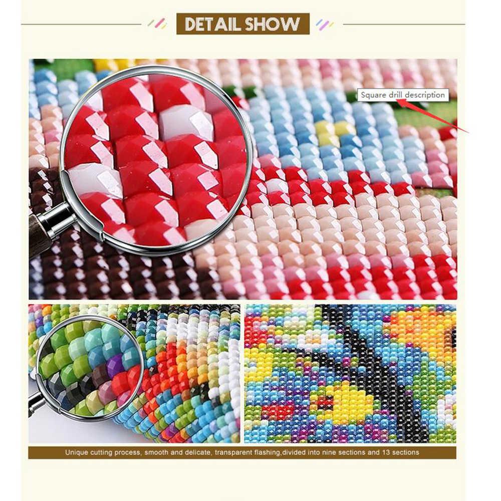 5D DIY เพชรภาพวาดหน้าต่างดอกไม้เต็มรูปแบบรอบเพชรเย็บปักถักร้อยเบญจมาศเพชร mosaic cross-stitch L1100