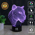 HUI YUAN Brand USB 3D Lamp Visual illusion Novelty Night Light Leopard Animals Holiday Lights Glowing Christmas Presents