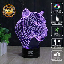 HUI YUAN Brand USB 3D Lamp Visual illusion Novelty Night Light Leopard Animals Holiday Lights Glowing Christmas Presents(China)