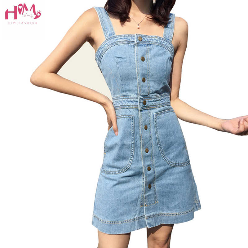 8230cb1862c High Quality Vintage Strap Denim Dress Preppy Style Casual Solid High Waist  Strapless Plus Size Spaghetti