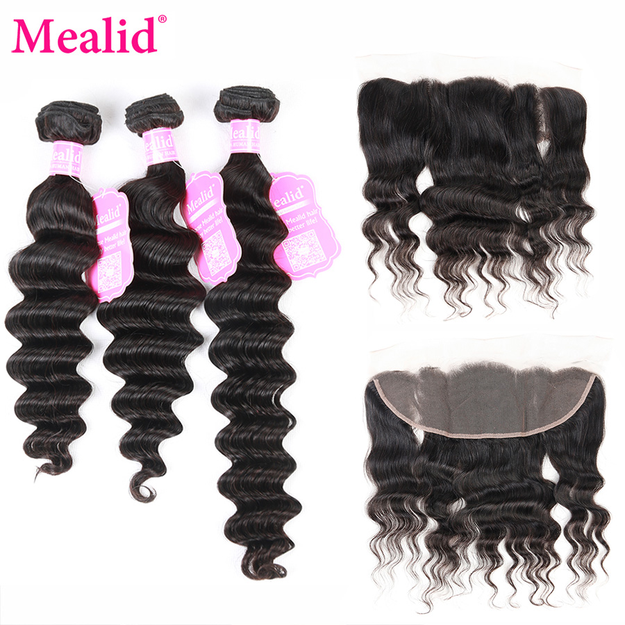 Mealid Brazilian Loose Wave Bundles With Frontal 8-28 Non-remy Natural Color Human Hair 3 Bundles and Frontal Free Part
