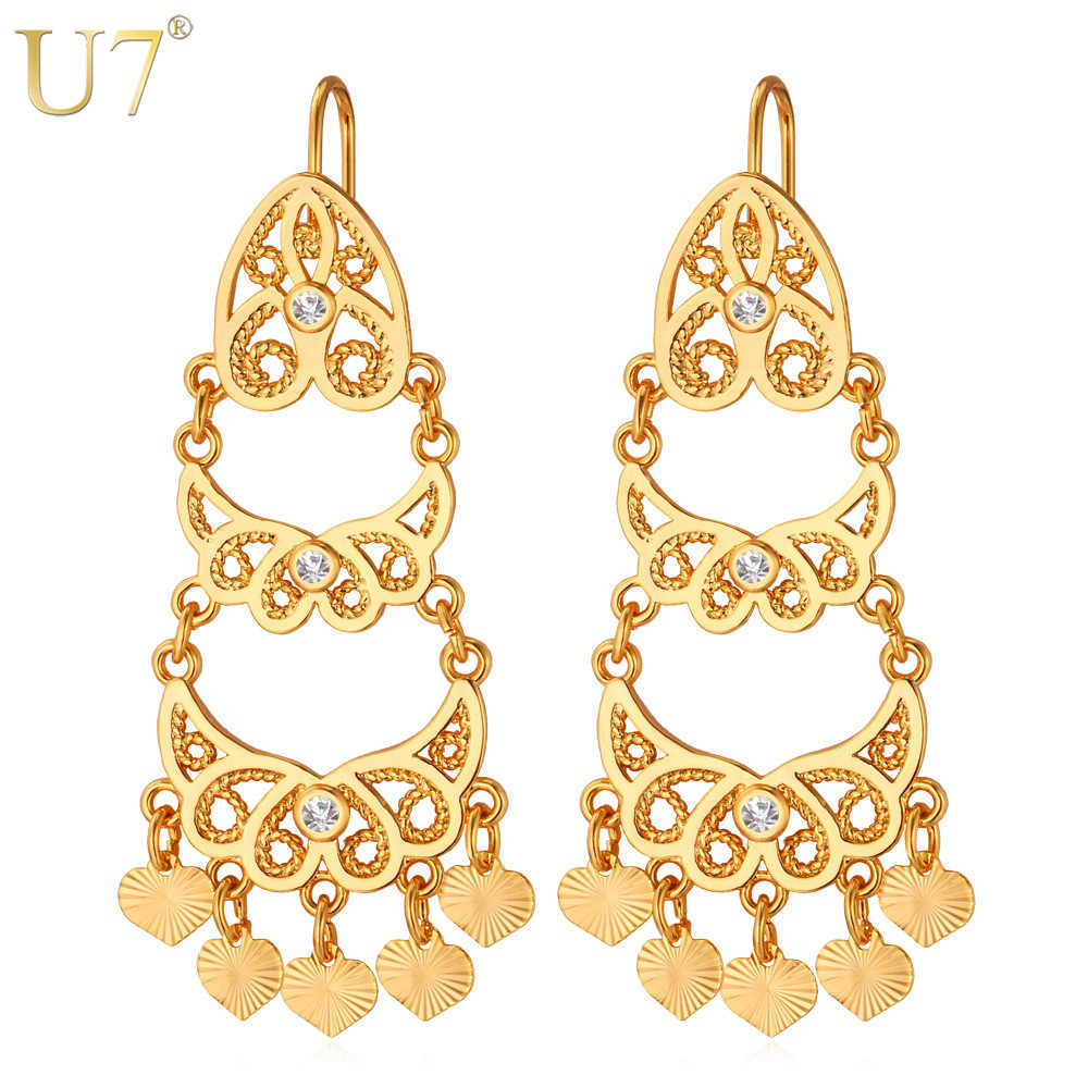 U7 Jumbai Panjang Anting Wanita Perhiasan Trendy Emas/Perak Warna Vintage India Drop Earrings Grosir E3031