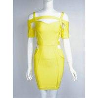 Оптовая продажа пикантные однотонные короткий рукав желтый Бандажное платье Новое поступление 2017 года Элегантные Дизайнерские платье l-291
