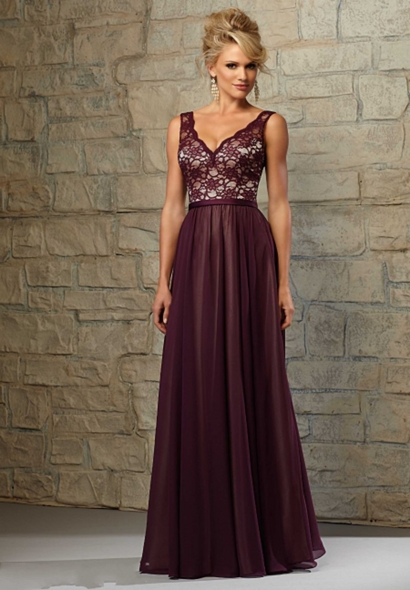 Custom Made V Neck Lace Top Floor Length Chiffon A Line Burgundy Long Bridesmaid Dresses Vestidos De Festa Vestido Longo In From Weddings