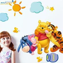 Winnie the Pooh friends wall stickers for kids rooms zooyoo2006 decorative sticker adesivo de parede removable pvc wall decal