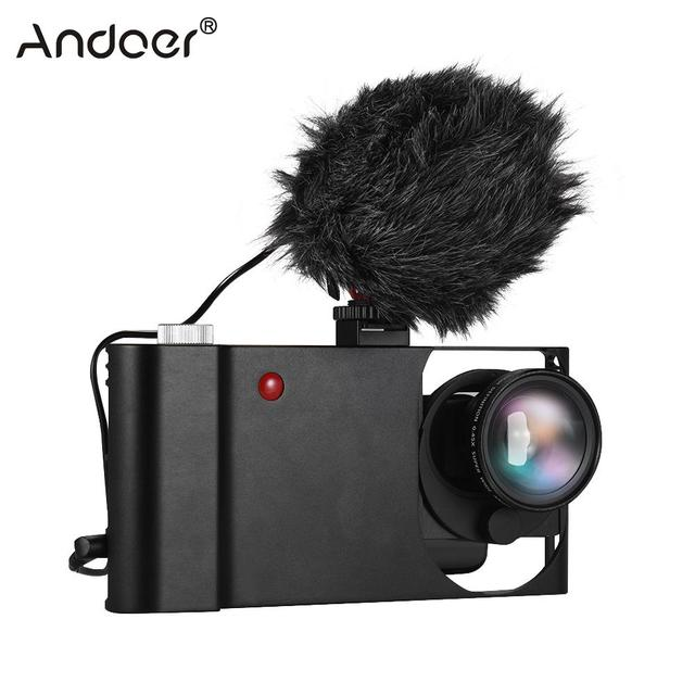 Andoer Smartphone Video Rig+Wide Angle Macro Lens+Phone Filming Cage Stabilizer for iPhone Samsung Huawei Stabilizer Video Rig 2