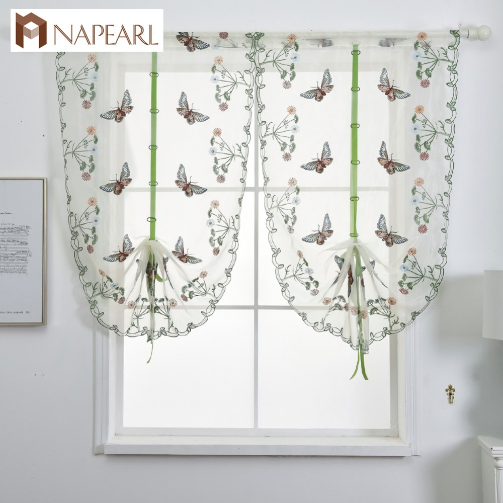 Short Curtain Kitchen Butterfly Sheer Valance Voile Fabric
