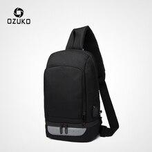 OZUKO многофункциональные сумки через плечо для мужчин, зарядка через usb, нагрудный пакет, водоотталкивающая мужская сумка-мессенджер, повседневная сумка на плечо