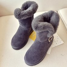 Winter Snow boots female fur rabbit single cylinder buckle shoes slip boots tide flat with leisure comfortable plush BOOTS