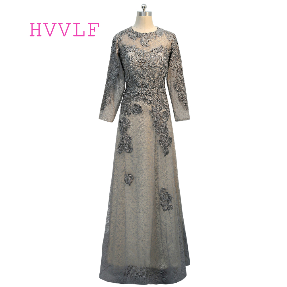 Gray 2019 Mother Of The Bride Dresses A-line Long Sleeves Tulle Lace See Through Wedding Party Dress Mother Dresses For Wedding