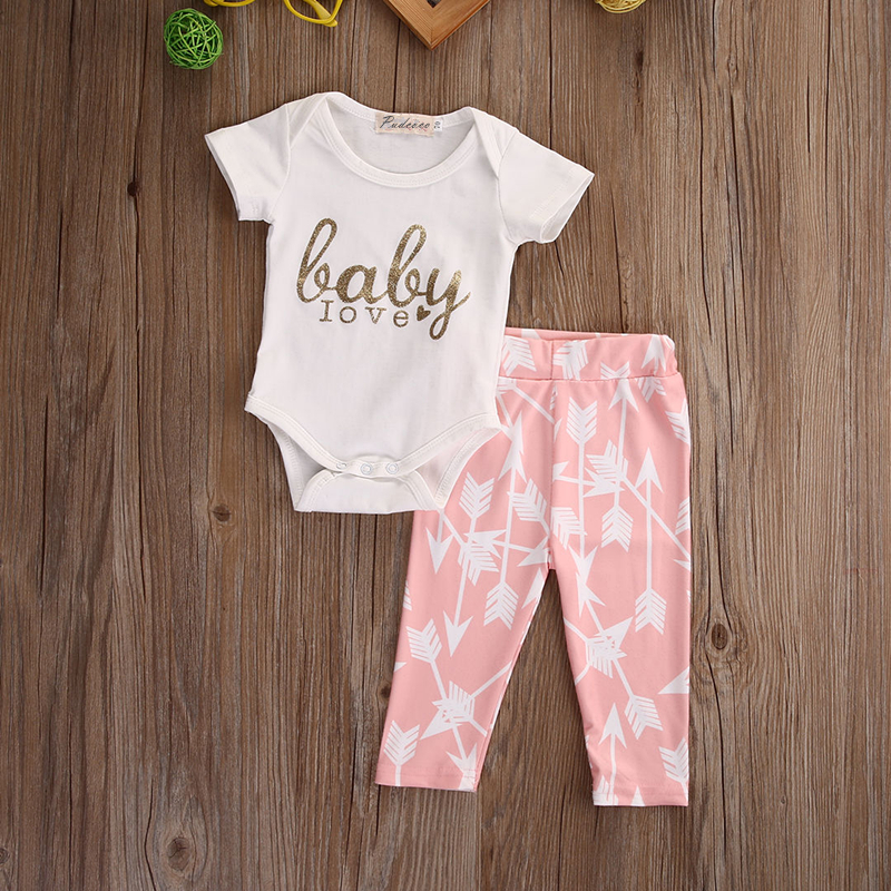 2017 Newest Fashion Baby Sets Newborn Girls Love Baby Short Sleeve Tops Bodysuits+Pink Arrow Pants Leggings 2pcs Outfits Set Hot