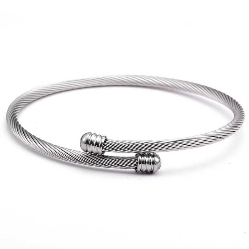 8a9793e24c5 Wholesale Simple Open Braided Female Cuff Bracelets Classic Mesh Stainless  Steel Charm Women Men Bracelet &