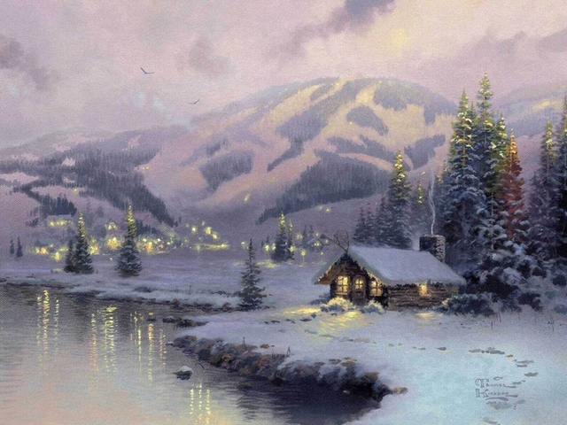 Us 28 0 Hd Original Prints Oil Paintings On Canvas Thomas Kinkade Mountain Cabin 18x24 In Painting Calligraphy From Home Garden On
