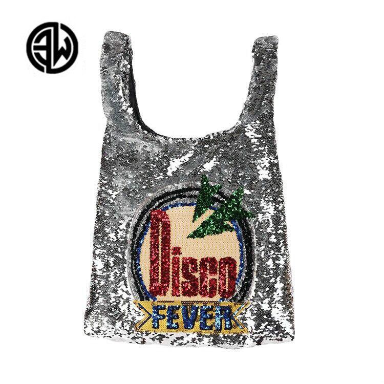 Disco Fashion Pailletten Kausalen Trage Tasche Große Strandtasche Perlen Blingbling Splitter Shoper Einkaufstasche Luxus Lady Handtaschen louis