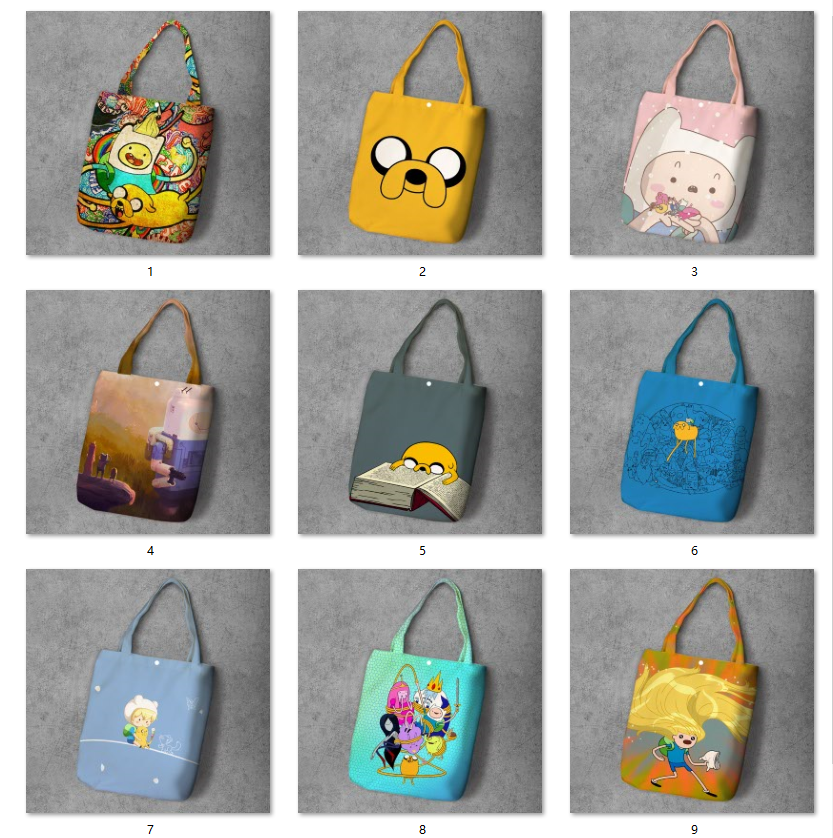 Adventuretime Cartoon Student Printed Canvas Recy Shopping Bag Large Customize Tote Ladies Shoulder Bags