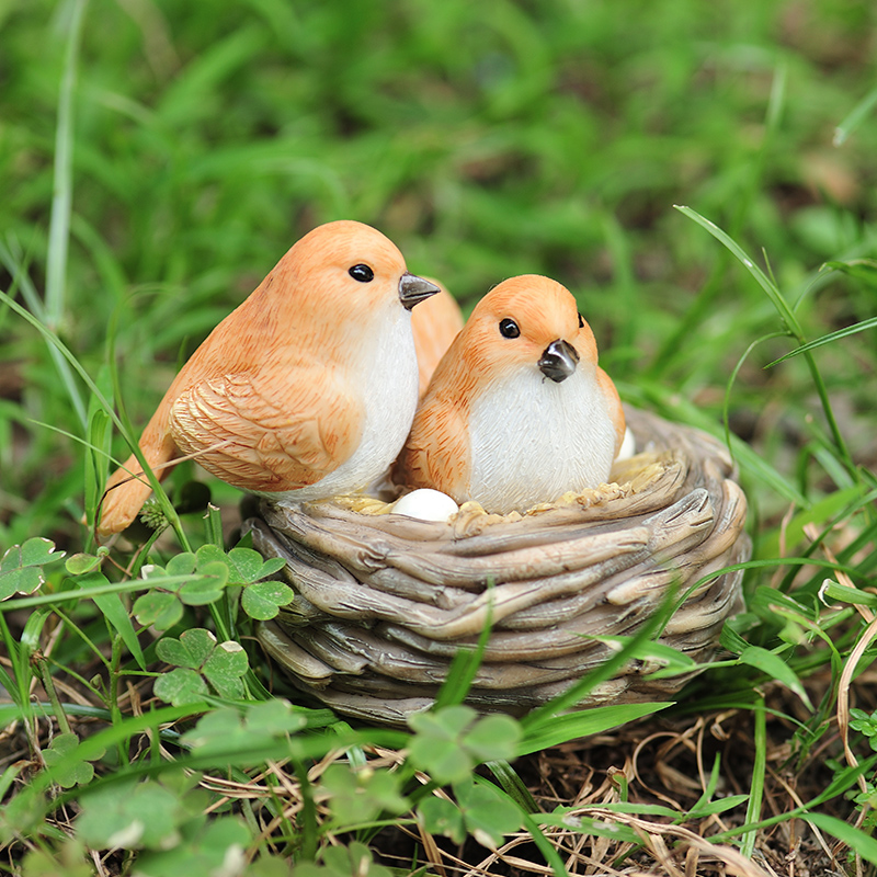 Creative Simulated bird Outdoor garden decoration Mini Lovely nest Animal miniature figurines Crafts home Gifts