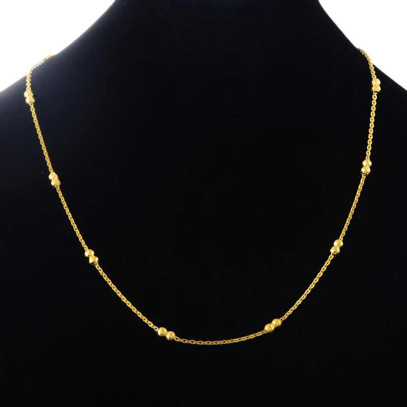 Hot Fashion Stainless Steel Necklace Flat Curb Link Cross Chains Gold Color 50cm Long, 1PC