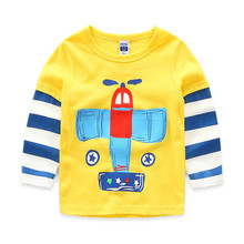 Long Sleeve Children's Clothing 2016 Fall New Boys Kroean Cotton Tops Casual Cartoon Handsome Tees Kids Good-Looking T-shirts