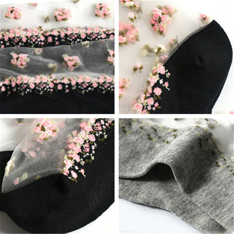 HTB1P9FLlL6TBKNjSZJiq6zKVFXaJ - 1 Pair Breathable Ultra Thin Socks Summer Women Transparent Lace Silk Crystal Rose Flower Girls Elastic Short Socks Female Sox