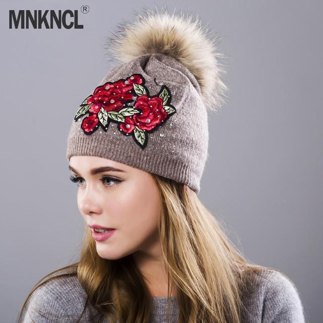 38ab6d2ce0f Female Winter Hat Knitted Beanie Hat For Women Sequins Embroidery Real Fur  Pom Pom Rabbit velvet