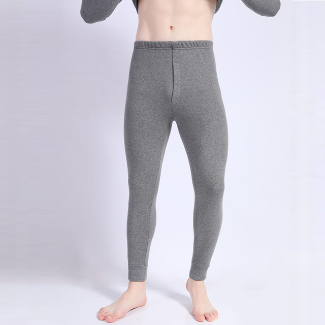 2018 Men's Long Johns Soft Thick Thermal Pants Slim Elastic Trousers Men Winter Solid Underwear Sleepwear Warm Pants For Men 3XL