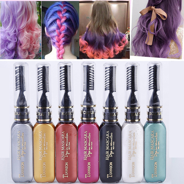 d8e16169410 13 colors one-time hair color DIY Hair Dye Temporary Non-toxic color hair  wax waterproof mascara blue silver white grey