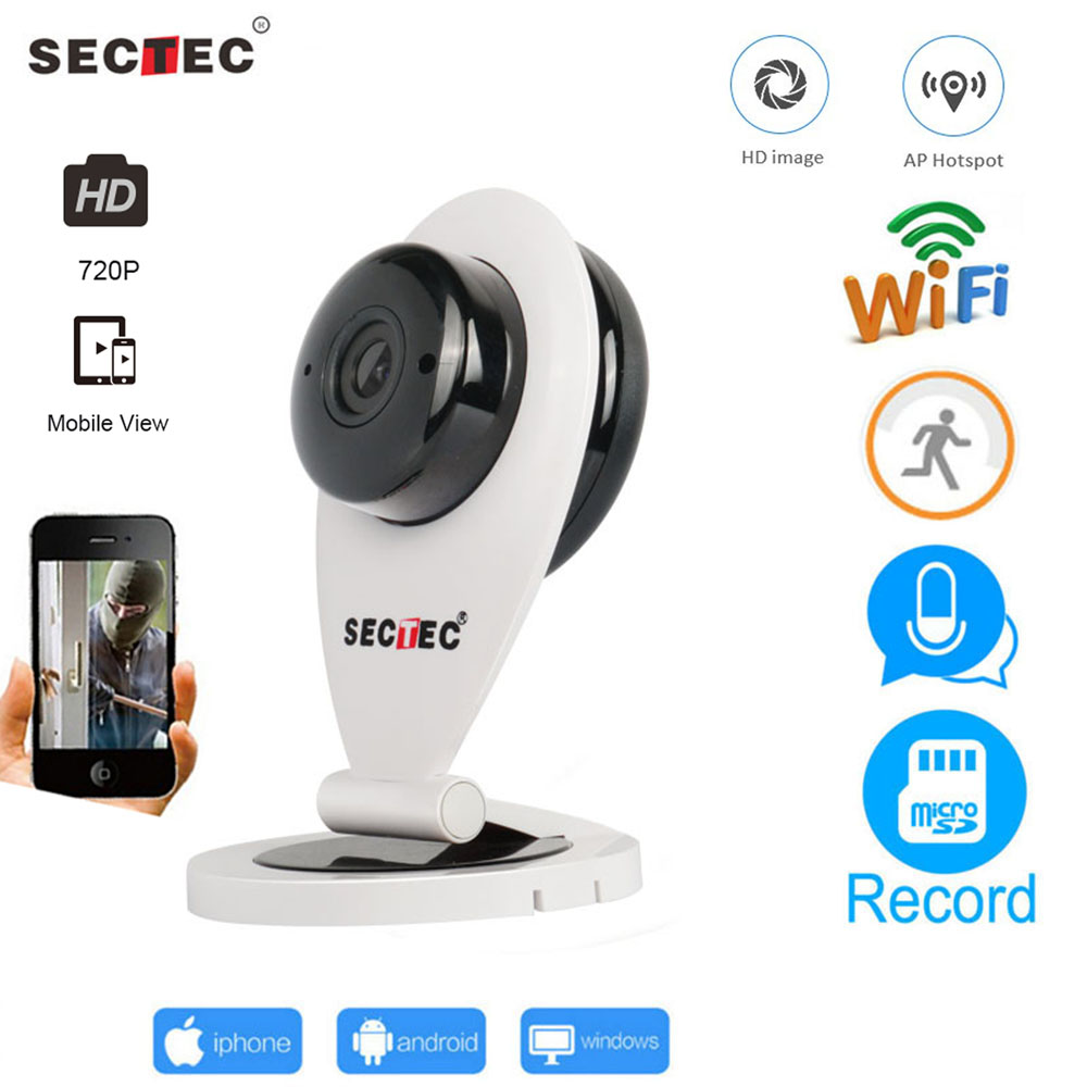 SECTEC Home Security IP Camera Wireless Wi-Fi Mini Network Camera Surveillance Wifi 720P Night Vision CCTV Camera Baby Monitor sannce home security baby monitor ip camera wi fi wireless mini network camera surveillance wifi 720p night vision cctv camera