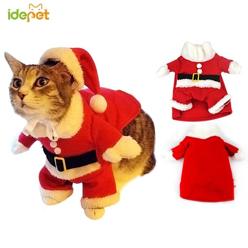 Christmas Cat Clothes Suit Winter Pet Clothes For Cat Costume Suit Warm Cat Coat Jacket Santa Claus Christmas Pet Apparel 40