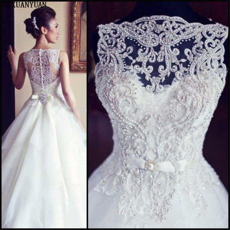 2019 New Sleeveless A Line Tulle Wedding Dresses Embroidery Beaded Bridal Gowns With Buttons Back Custom Made Vestido De Noiva