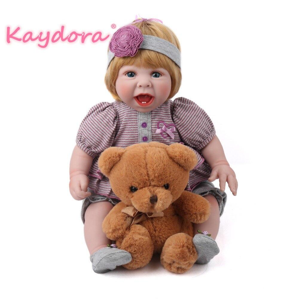 Kaydora 20 pouces bébé Reborn Silicone Reborn bébé jouets princesse robe réaliste vinyle nouveau-né bébé poupées lol cadeau pour noël