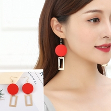Hot Style European and American Temperament Fashion Red Wood Block Geometric Personality Refined Earrings Wholesale